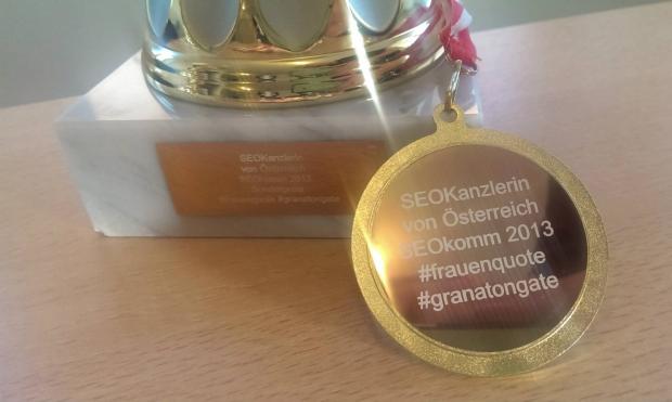 Sonderpreis für die beste Frau beim SEOKanzler SEO Contest wegen der Frauenquote. Stichwort: Granatongate